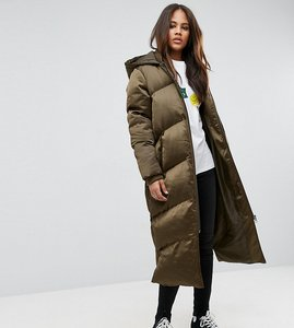 Read more about Asos tall longline puffer coat - khaki