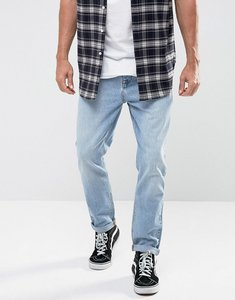 Read more about Asos recycled denim tapered jeans in vintage light wash blue - light wash vintage