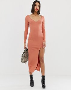 Read more about Asos design rib maxi dress with sweetheart neck and split