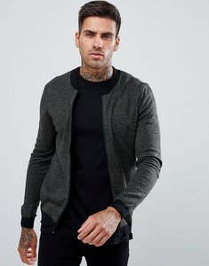 Read more about Asos design muscle fit knitted bomber jacket in khaki twist - khaki