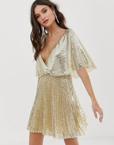 Read more about Asos design flutter sleeve mini dress in all over sequin