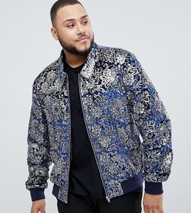 Read more about Asos edition plus bomber jacket with sequin jacquard in navy