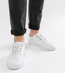 Read more about Asos wide fit lace up plimsolls in white canvas - white