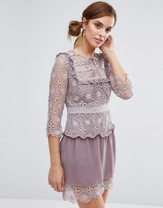 Read more about Little white lies rachel lace bib detail dress - lilac