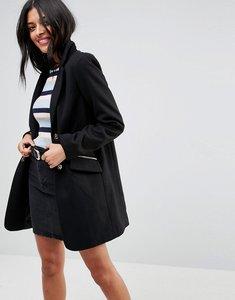 Read more about Asos slim boyfriend coat with zip pocket - black