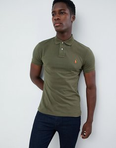 Read more about Polo ralph lauren slim fit pique polo player logo in olive green - expedition olive