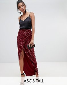 Read more about Asos design tall maxi embellished wrap skirt - burgundy