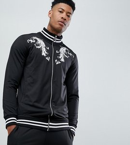 Read more about Criminal damage track top in black baroque print exclusive to asos - black