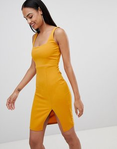 Read more about Missguided side split midi dress - yellow