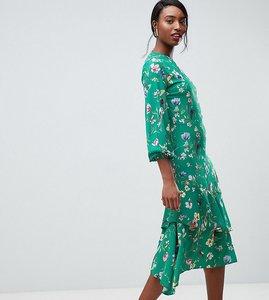Read more about John zack tall midi tea dress in green floral print - green multi