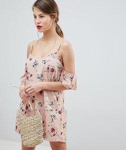 Read more about Vila floral cold shoulder dress - adobe rose