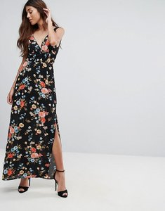Read more about Oh my love maxi dress with tie waist and high split - floral