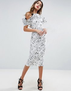 Read more about Asos mono ruffle longer length midi dress - mono
