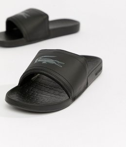 Read more about Lacoste fraisier croc sliders in black - black
