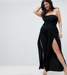Read more about Club l plus bandeau open split leg detailed jumpsuit - black