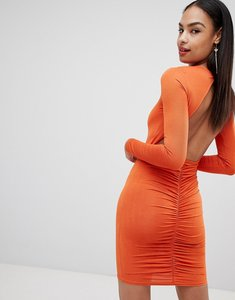 Read more about Missguided ruched back mini dress - orange