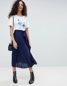 Read more about Asos pleated midi skirt with belt - navy