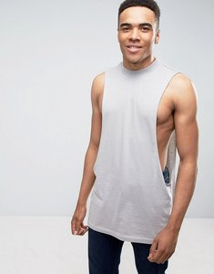 Read more about Asos sleeveless longline t-shirt with dropped armhole in grey - breezeblock marl