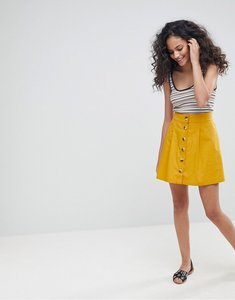 Read more about Asos cotton mini skater skirt with button front - ocre
