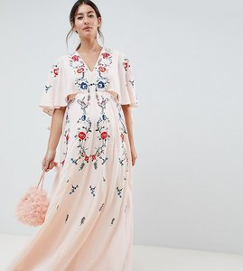 5000bd5cd7cc Read more about Asos design maternity embroidered maxi dress with flutter  sleeve - nude