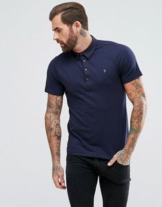 Read more about Farah chelsea slim fit jacquard polo shirt in navy - true navy 412