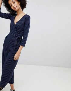 Read more about Bershka tie waist wide leg jumpsuit - blue