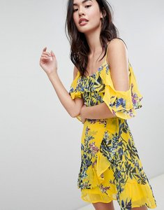 Read more about Brave soul bluebell cold shoulder dress with frills - yellow