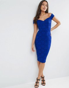 Read more about Asos lace sweetheart bardot midi bodycon dress - cobalt