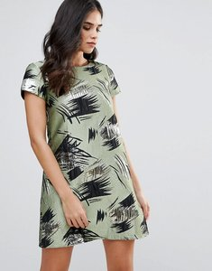 Read more about Traffic people short sleeve shift dress in swirl print - green
