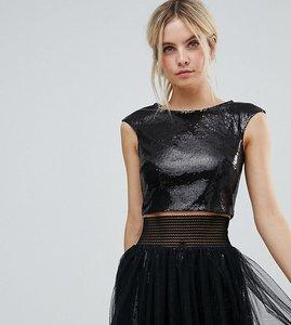 Read more about Little mistress petite allover sequin crop top - black
