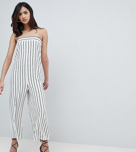 Read more about Asos design tall bandeau minimal jumpsuit in pinstripe - mono stripe