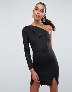 Read more about Asos double split one shoulder mini dress - black