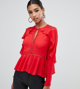 Read more about Missguided ruffle trim lace insert blouse in red