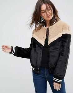 Read more about Free people mixed faux fur sporty bomber jacket - black