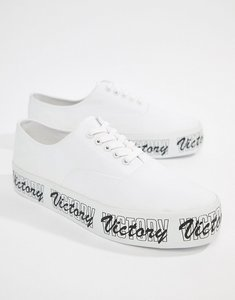Read more about Asos design lace up plimsolls in white with chunky text print sole - white