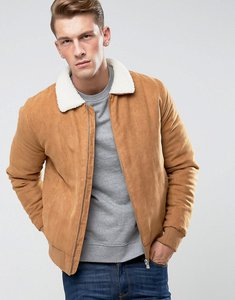 Read more about Only sons faux suede jacket with borg collar - tabacco brown