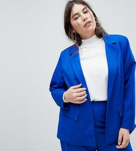 Read more about Fashion union plus tailored blazer co-ord - electric blue