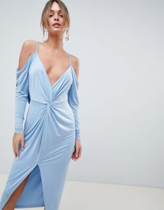 Read more about Asos design slinky kimono cold shoulder midi dress - sky blue
