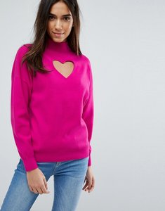 Read more about Warehouse heart cut out jumper - bright pink