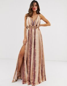 Read more about Asos design satin maxi dress with metal circle waist trim in snake print