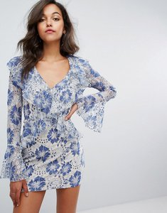 Read more about Missguided lace ruffle plunge dress - blue