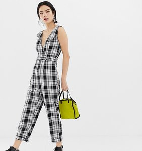 Read more about Miss selfridge jumpsuit with cross front in check