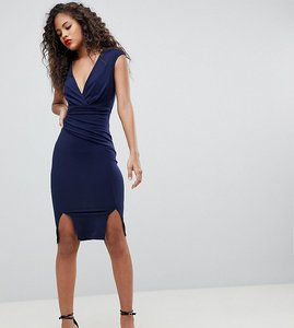 Read more about Flounce london tall wrap front bodycon midi dress with double splits - navy