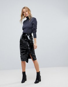 Read more about Miss selfridge gathered vinyl midi skirt - black