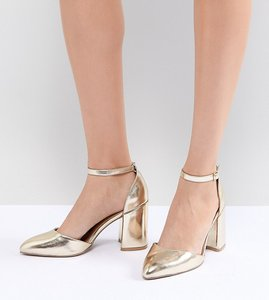 Read more about Qupid pointed block heels - gold