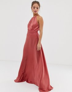 Read more about Little mistress lace insert satin maxi dress in terracotta