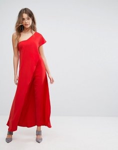 Read more about Lavish alice asymmetric overlay jumpsuit - red