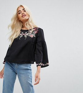 Read more about Miss selfridge petite embroidered flare sleeve top - black