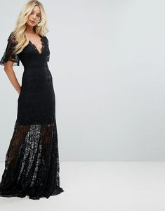 Read more about Bodyfrock plunge front lace fishtail maxi dress - black