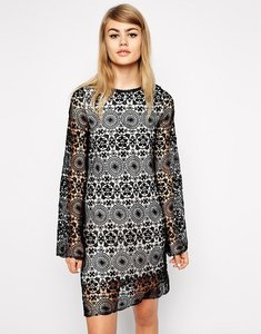 Read more about Little white lies lace swing dress with fluted sleeves - black nude